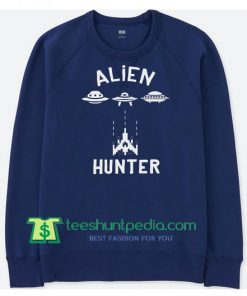 Alien Hunter Old School Gamer Sweater, Funny Arcade Classic Sweatshirt, Vintage Sweatshirt Maker Cheap
