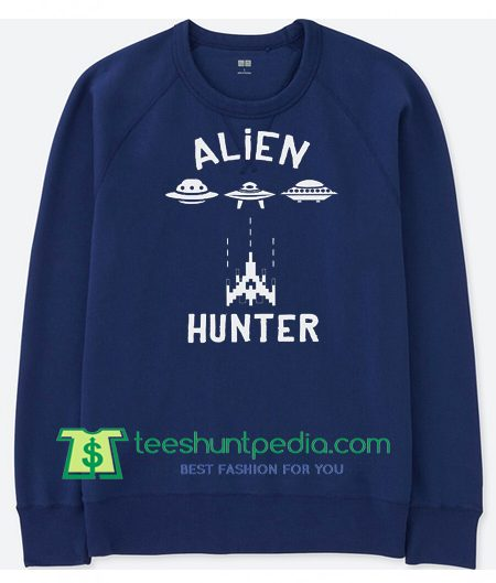 Alien Hunter Old School Gamer Sweater, Funny Arcade Classic Sweatshirt, Vintage Sweatshirt Maker Cheap