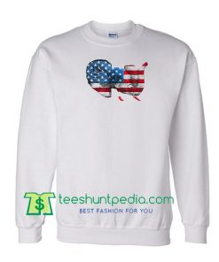 American Flag Elephant Sweatshirt, Party USA Flag Colors Elephant Sweatshirt Maker Cheap