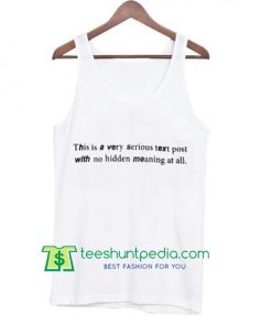 This is Very Serious Text Post Tank Top Maker Cheap
