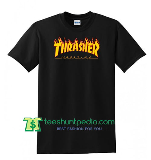 Thrasher Magazine Flame Logo T Shirt Maker Cheap