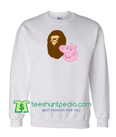 A Bathing Ape Bape Head X Peppa Pig Parody Sweatshirt Maker Cheap