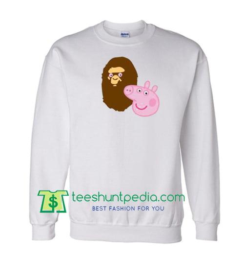 A Bathing Ape Bape Head X Peppa Pig Parody Sweatshirt Maker Cheap