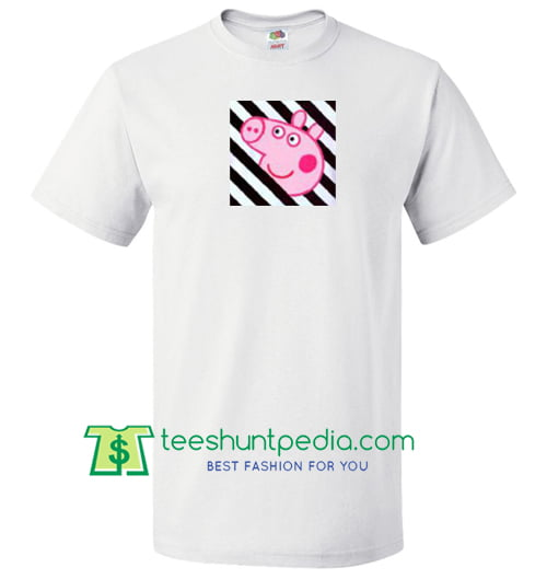 Peppa Pig x OFF White Collab T Shirt gift tees adult unisex custom clothing Size S-3XL