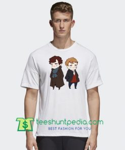 2018 Sherlock Holmes And Watson Cartoon T Shirt gift tees adult unisex custom clothing Size S-3XL