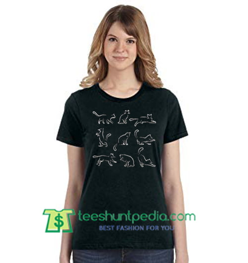 Pattern Sketch Of Cats T Shirt gift tees adult unisex custom clothing Size S-3XL