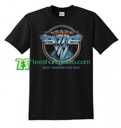 Van Hallen World Tour T Shirt gift tees adult unisex custom clothing Size S-3XL