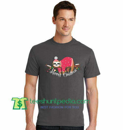 Merry Christmas T Shirt Lazy Sloth In Christmas Eve Shirt gift tees adult unisex custom clothing Size S-3XL