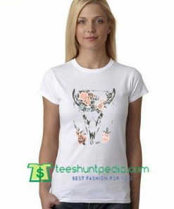 Skull Floral T Shirt gift tees adult unisex custom clothing Size S-3XL