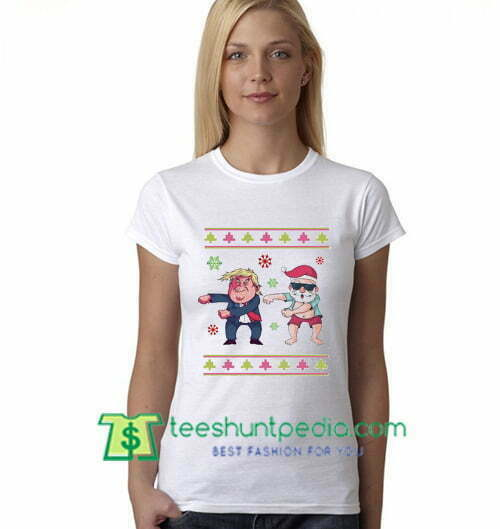 Trump & Santa Floss Dance T Shirt Funny Christmas Pajama T Shirt gift tees adult unisex custom clothing Size S-3XL