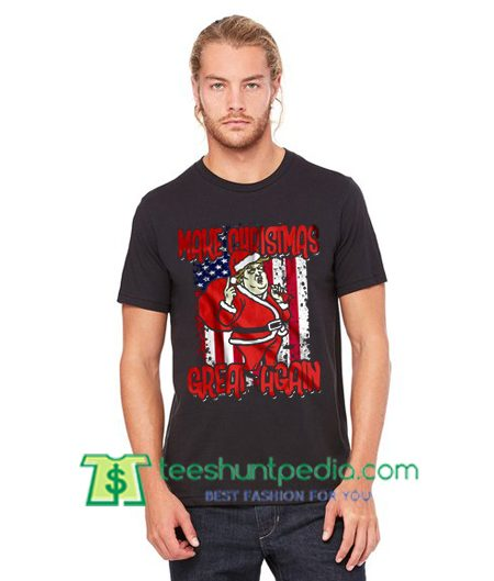 Trump Santa Make Christmas Great Again USA Funny Xmas Shirt gift tees adult unisex custom clothing Size S-3XL