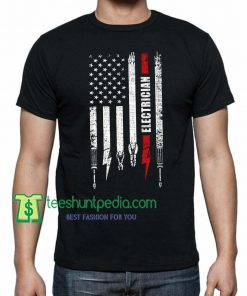 American flag with Electrician, Tshirt Gift