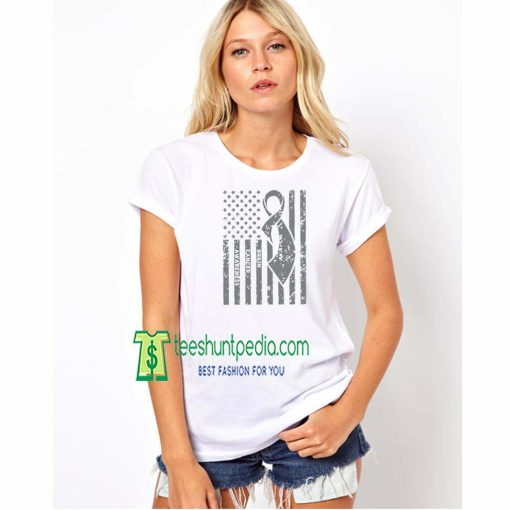Brain Cancer Awareness Off Shoulder Tshirts Ribbon Women's Shirts American Flag Maker cheap