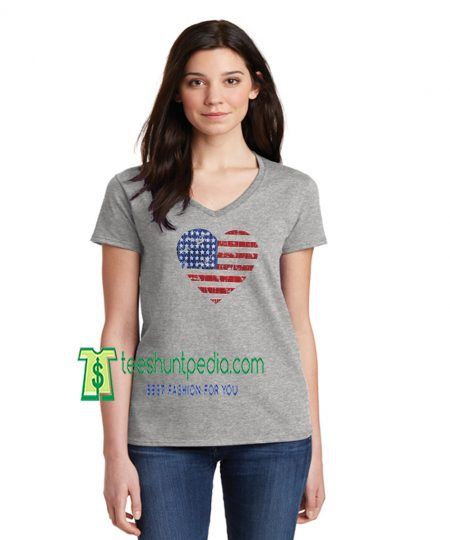 Heart USA Flag Distressed Off Shoulder Tshirts Fourth of July shirt Maker cheap