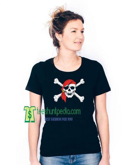 Jolly Roger Skull & Crossbones Off Shoulder Shirt Halloween Shirt Maker cheap