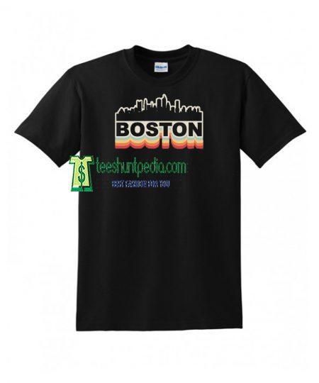 Boston Skyline Vintage Retro T-Shirt Gift Boston Massachusetts Maker cheap