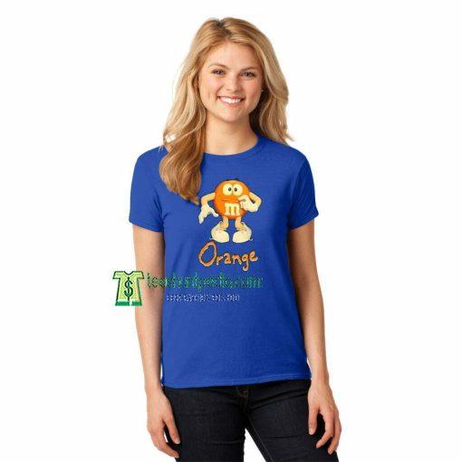 00s Orange M&M's Unisex Adult T shirt Maker cheap