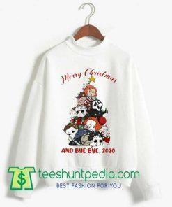 Merry christmas tree horror characters halloween Sweatshirt